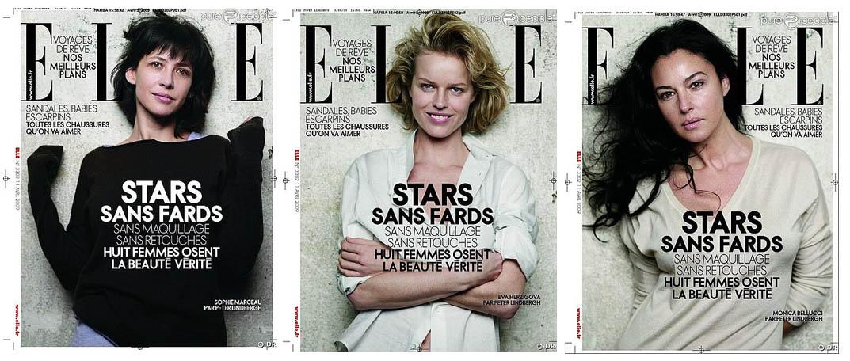 Capas da Elle de abril, que apresentou as modelos sem maquiagem e retoques gráficos.